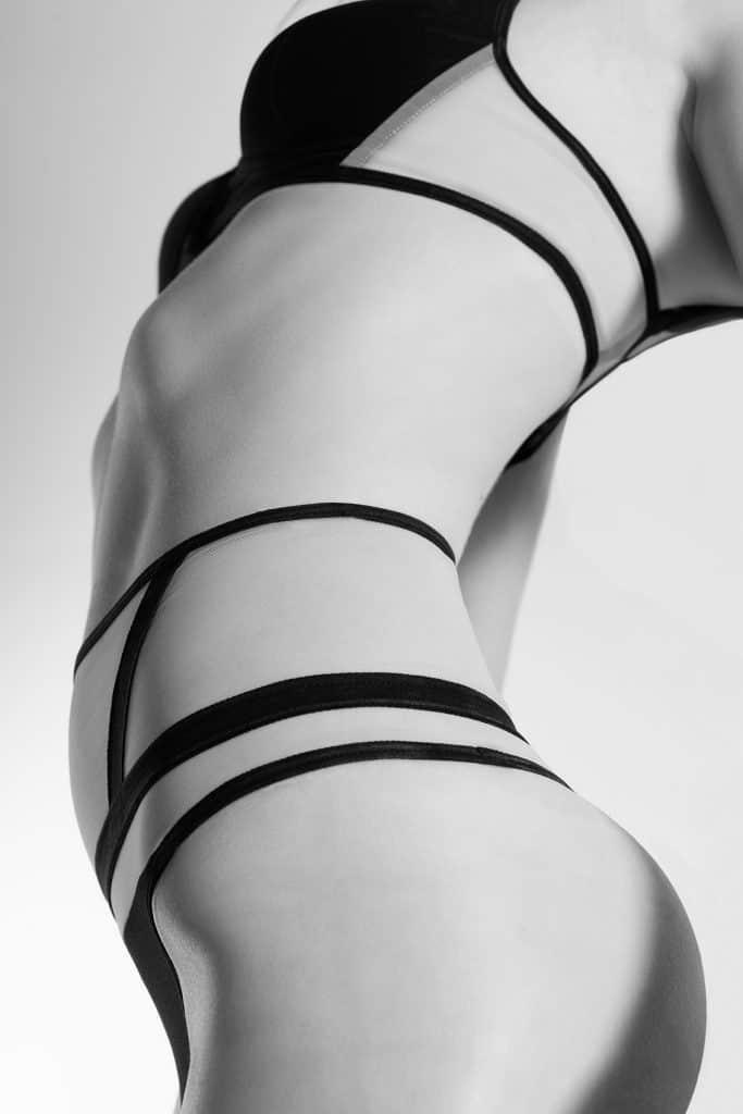 Sophie sheer black bra & Laura sheer black thong - Scène Discrète