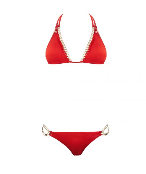 """Bikini rouge et doré """"MIRANDA""""- Scène Discrète"""
