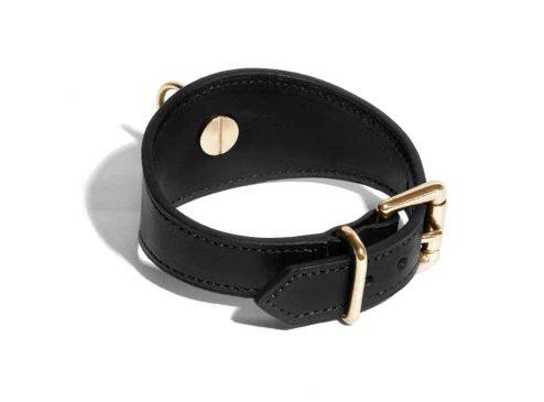 Bracelet Linotte en cuir noir intérieur - Scène Discrète