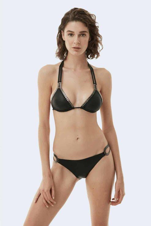 Bikini noir métallique MIRANDA avant