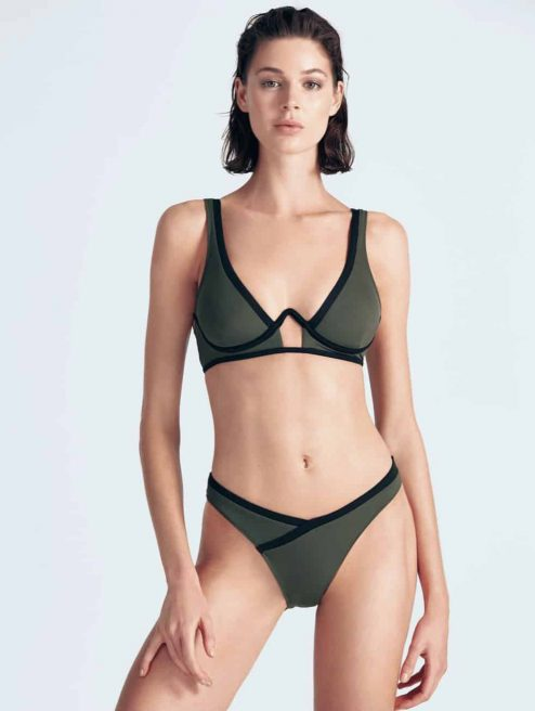 """Bikini vert et noir """"MARVIN"""" avant"""