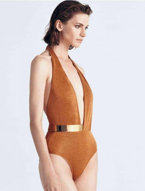 "Maillot ""BRIDGET"" orange brillant avant"