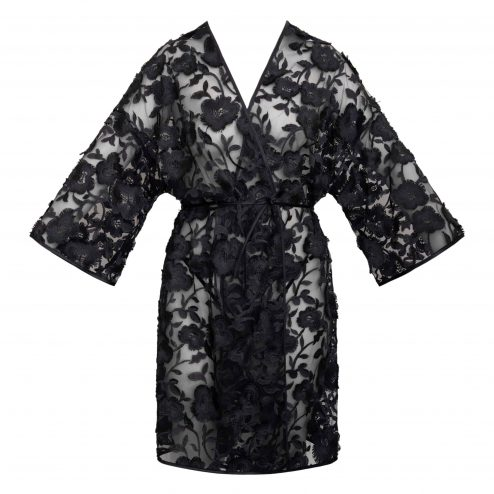 Kimono en tulle brodé avant