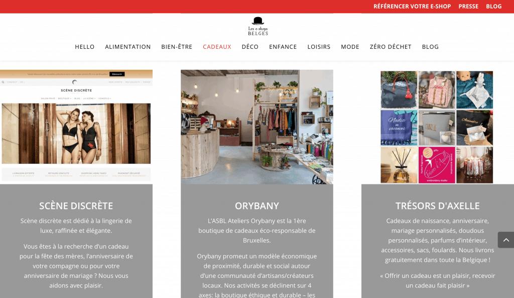 Les e-shops belges - rubrique cadeaux