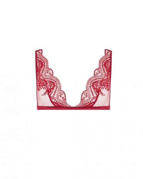 Soutien-gorge triangle en dentelle rouge AKIKO avant