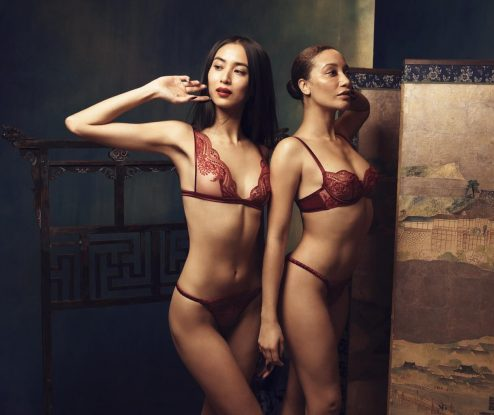 Ensembles de lingerie en dentelle rouge Akiko