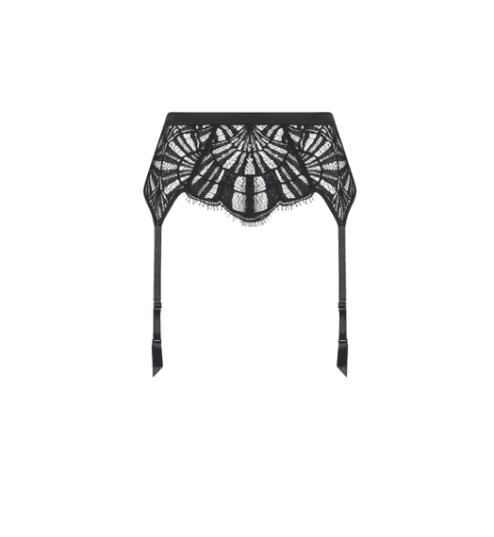 Porte-jarretelles en dentelle noire FUJI avant